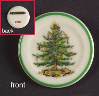 Spode Christmas Tree Green Trim Lapel Pin, Fine China Dinnerware   Newer Backsta