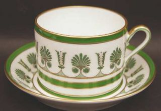 Richard Ginori Ercolano Green Flat Cup & Saucer Set, Fine China Dinnerware   Imp