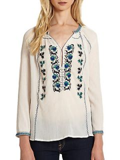 Chava Embroidered Sequin Top   Porcelain