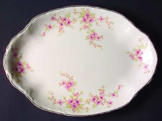 WS George 36725 11 Oval Serving Platter, Fine China Dinnerware   Radisson, Pink