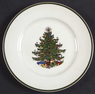Cuthbertson Christmas Tree (Narrow Green Band,Cream) Bread & Butter Plate, Fine