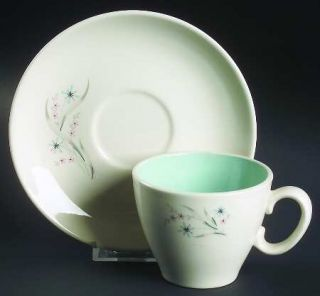 Taylor, Smith & T (TS&T) Windemere Flat Cup & Saucer Set, Fine China Dinnerware