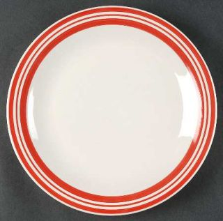 Philippe Richard Diner Story Red Dinner Plate, Fine China Dinnerware   Red Bands