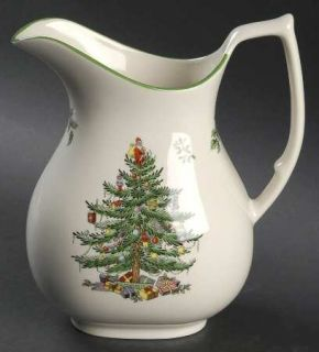 Spode Christmas Tree Green Trim 46 Oz Pitcher, Fine China Dinnerware   Newer Bac