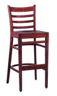 Vitro Woodland Series Bar Stool, Ladder Back, Upholstered Seat, Wood Frame