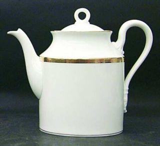 Richard Ginori Dorato Coffee Pot & Lid, Fine China Dinnerware   Gold Border Desi