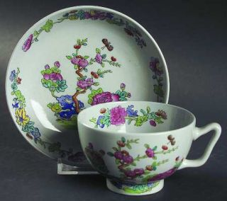 Spode Willis (Y2684) Canton Shape Footed Cup & Saucer Set, Fine China Dinnerware