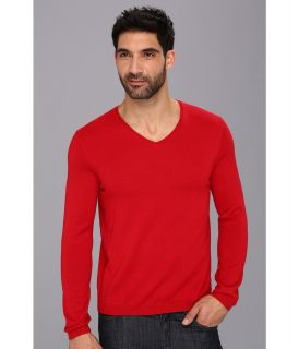 Calvin Klein Solid V Neck w/ Interior Tipping Mens Sweater (Red)