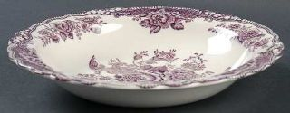 Crown Ducal Bristol Mulberry Rim Soup Bowl, Fine China Dinnerware   Mulberry Flo