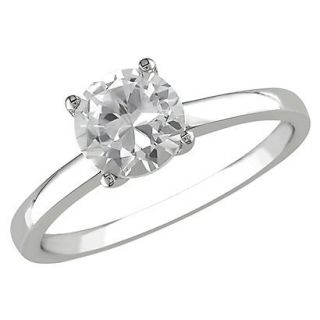 1 1/4 Carat Created White Sapphire Solitaire Ring 10k White Gold