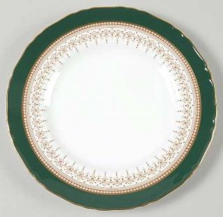 Royal Worcester Regency Green & Brown (Newer) Salad Plate, Fine China Dinnerware