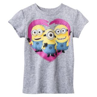 Despicable Me Infant Toddler Girls Short Sleeve Minion Heart Tee   Grey 18 M