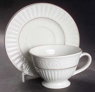 Gibson Designs Claremont Gold (White Background) Footed Cup & Saucer Set, Fine C