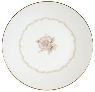 Japan China Sophisticate Salad Plate, Fine China Dinnerware   Beige/Pink Rose