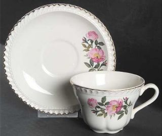 Harker Wild Rose (Royal Gadroon) Flat Cup & Saucer Set, Fine China Dinnerware