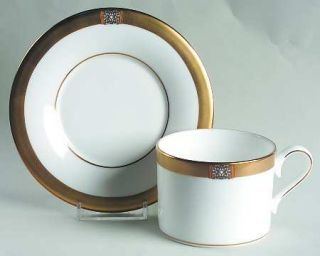 Lenox China Jewel Gold Flat Cup & Saucer Set, Fine China Dinnerware   Classics,G