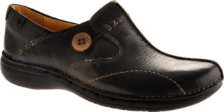 Womens Clarks Un.Loop   Black Leather Casual Shoes