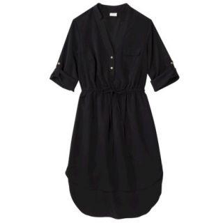 Merona Womens Drawstring Shirt Dress   Black   L