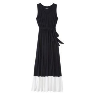 Merona Womens Knit Colorblock Maxi Dress   Black/Sour Cream   S