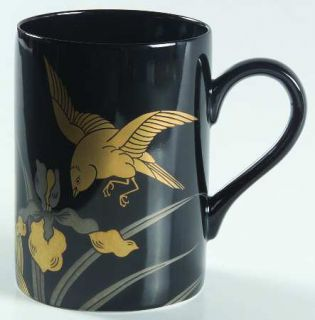 Fitz & Floyd Oiseau Dore Mug, Fine China Dinnerware   Black Bkgd, Gold    Flower