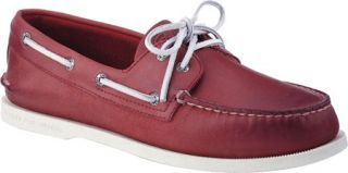 Mens Sperry Top Sider A/O 2 Eye Free Time   Red Full Grain Leather Sailing Shoe