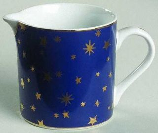 Sakura Galaxy Blue (China) Creamer, Fine China Dinnerware   Gold Stars On Blue R