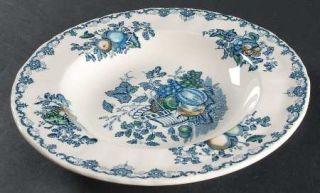 Masons Fruit Basket Blue Multicolor Rim Soup Bowl, Fine China Dinnerware   4892