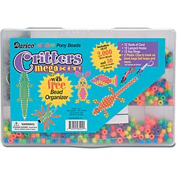 Critters Mega Neon Bead And Organizer Kit (Assorted neon colorsMaterials: PlasticThis package includes one kit including: one plastic organizer case, 2000 9mm pony beads, 50 patterns, 12 yards of cord, 12 lanyard hooks, 12 key rings, and two (2) plastic c