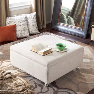 Armen Living Corbett Linen Coffee Table Storage Ottoman Multicolor
