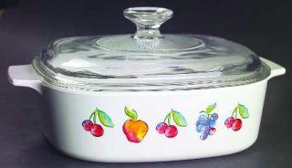 Corning Fruit Basket 2 Qt Sq. Covered Casserole W/Glass Or Plastic Lid, Fine Chi