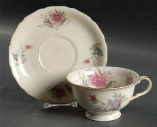 Black Knight Helena Footed Cup & Saucer Set, Fine China Dinnerware   Pink, Yello