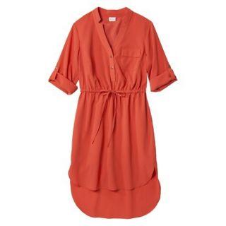 Merona Womens Drawstring Shirt Dress   Orange   XS