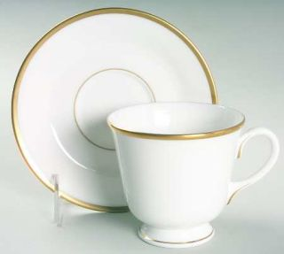 Royal Worcester Capri  Footed Cup & Saucer Set, Fine China Dinnerware   Bone, No
