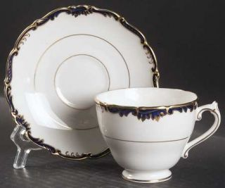 Coalport Admiral Cobalt Blue Footed Cup & Saucer Set, Fine China Dinnerware   Go