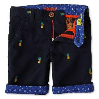 TED BAKER Baker by Pineapple Pattern Twill Shorts   Boys 2 6, Rich Navy, Boys