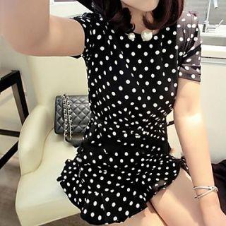 Womens Sweet Ruffle Skirt Polka Dots Short Sleeve Dress