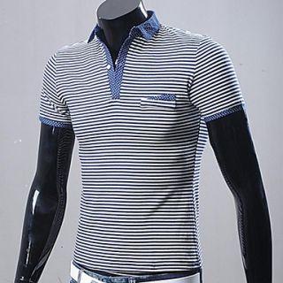 Mens Stripes Polka Dots Short Sleeve Polos