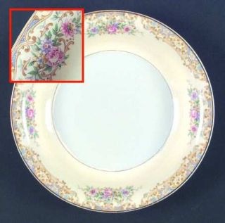 Edwin Knowles Kno138 Coupe Soup Bowl, Fine China Dinnerware   Tan Scrolls, Pink