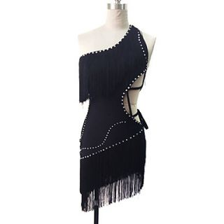 Dancewear Polyester With Rhinestone And Tassels Latin Dance Dress for Ladies