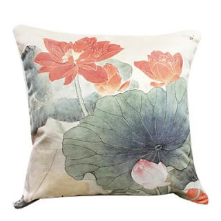 18 Square Lotus Pond Print Polyester Decorative Pillow Cover