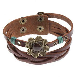 Quatrefoil Cross Rivet Leather Bracelet