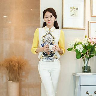 YIMN WomenS KoreaS New Spring Dress Render Japanese Sweet Doll Head Top Shirt Collar(Screen Color)