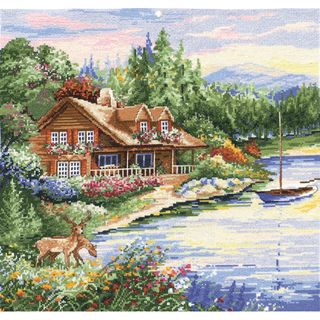 Lakeside Cabin Counted Cross Stitch Kit 15x15in 14 Count