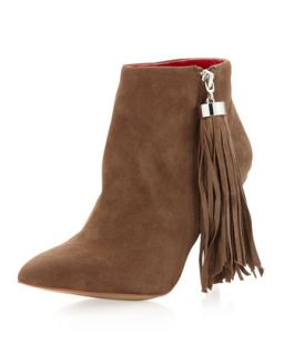 Rica Tassel Pull Suede Bootie, Taupe