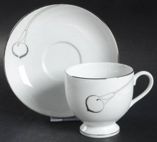 Mikasa Candlelight Silver Footed Cup & Saucer Set, Fine China Dinnerware   Plati