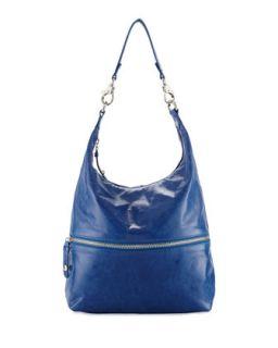 Jude Glossy Tumbled Leather Hobo Bag, True Blue