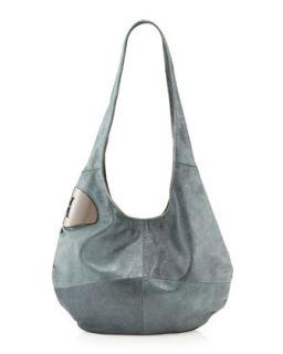 Medium Leather Hobo Bag, Spearmint