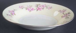 Homer Laughlin  Apple Blossom Rim Soup Bowl, Fine China Dinnerware   Eggshell Na