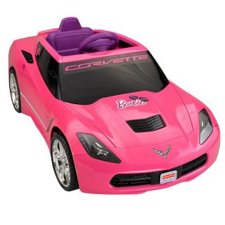 Fisher Price Power Wheels Barbie Corvette Battery Powered Riding Toy Multicolor